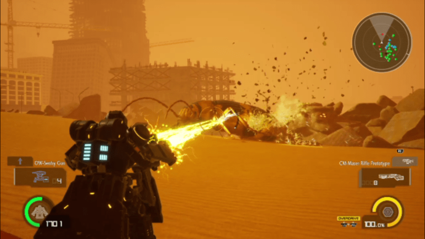 Earth Defense Force: The heavy striker  unleashes dual lasers on a giant stink bug.