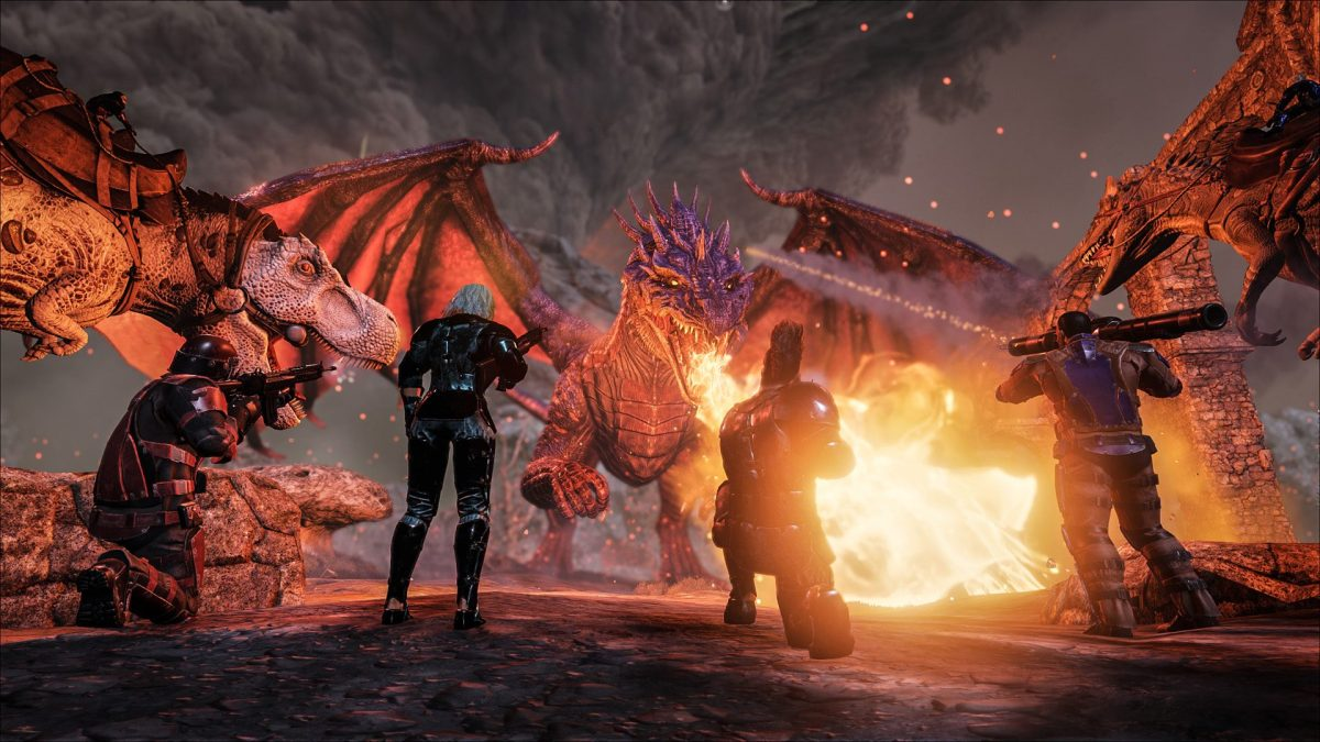 Players battle a dragon in Ark.