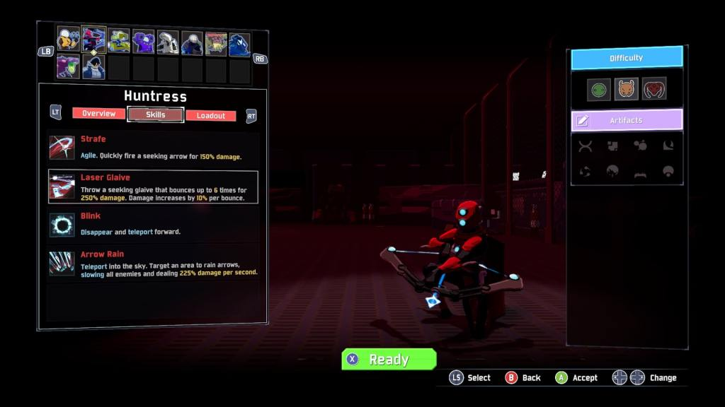 The Risk of Rain character selection screen showing the Huntress.