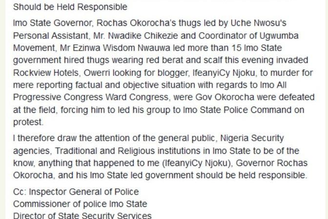 IfeanyiCy Njoku: 'If I Die, Hold Rochas Okorocha Responsible' – Imo Journalist
