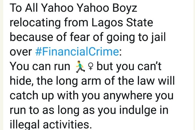 You Can Run But You Can't Hide; Commissioner Tells Yahoo Boys