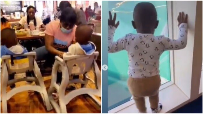 Funke Akindele Steps Out With Her Twin Children In Dubai