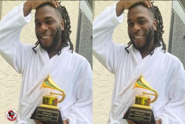 'E Don Land' Burna Boy Takes Delivery Of His Grammy Award (Photos)