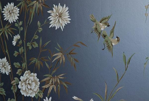Обои с птицами и цветами для стен в интерьере