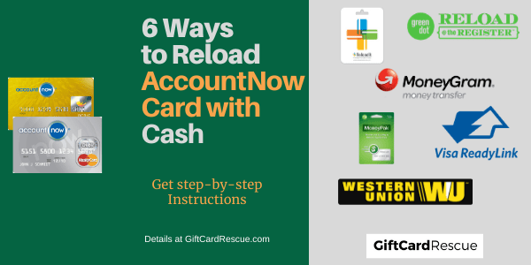 """AccountNow Prepaid Card Cash Reload"""