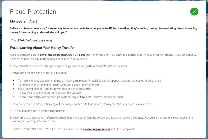 """Moneygram fraud protection"""