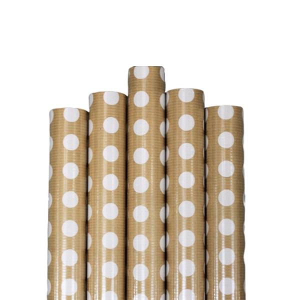 Set 5 bucati hartie ambalat cadouri Kraft Vintage White Dots