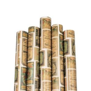Set 5 bucati hartie ambalat cadouri Kraft Vintage Timbre