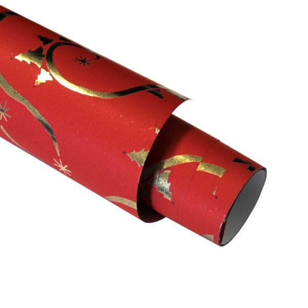 Hartie ambalat Craciun 150x70cm braduti-stelute rosu