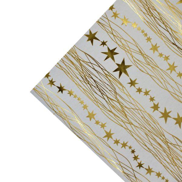 Hartie ambalat Craciun 150x70cm dungulite-stelute auriu