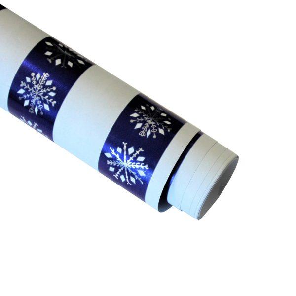 Hartie ambalat Craciun 150x70cm snowflake albastru
