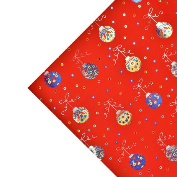 Hartie ambalat Craciun 150x70cm globulete rosu