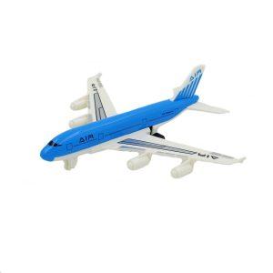 Avion de jucarie cu sistem pull-back albastru.