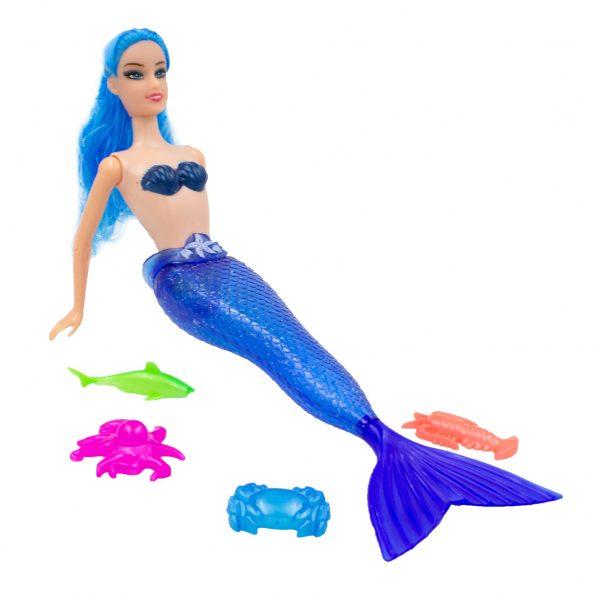 Papusa sirena albastra cu accesorii animalute colorate