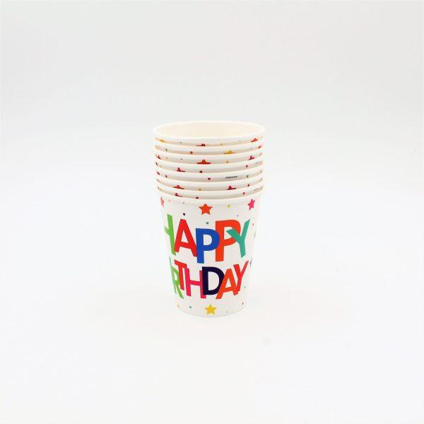 Set 8 pahare 260ml Happy birthday