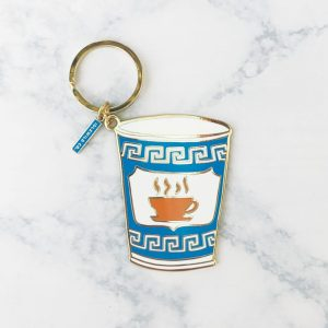 anthora cup mug glasses greek keys keychain key chain gifts for her gifts for bestie birthday gifts trinkets new home new apartment homeowners