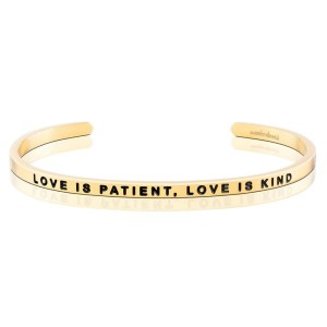 Celebrating your friend or daughter's engagement? This is the perfect keepsake to honor their new journey while being an elegant accessory they will cherish for years to come. love is patient love is kind silver gold bracelet jewelry gifts for her