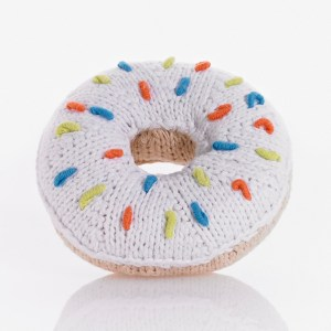 white frosted donut donut rattle sprinkles baby toy new baby