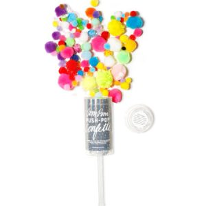 A colorful mix of iridescent confetti in an assortment of sizes - the flying poms poms are a superb item to bring along for a toddler's birthday or to use at the farewell for your best friend's wedding.