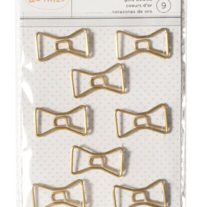 A dash of handsomeness for your friend's desktop, this set of gold bow tie paper clips offer a dapper route to staying organized. Whimisical and unique, these make a great present for anyone that just got a new job or is in the midst of launching their new business. bow tie clip paper clip stationary set gifts for her gifts for him office supplies