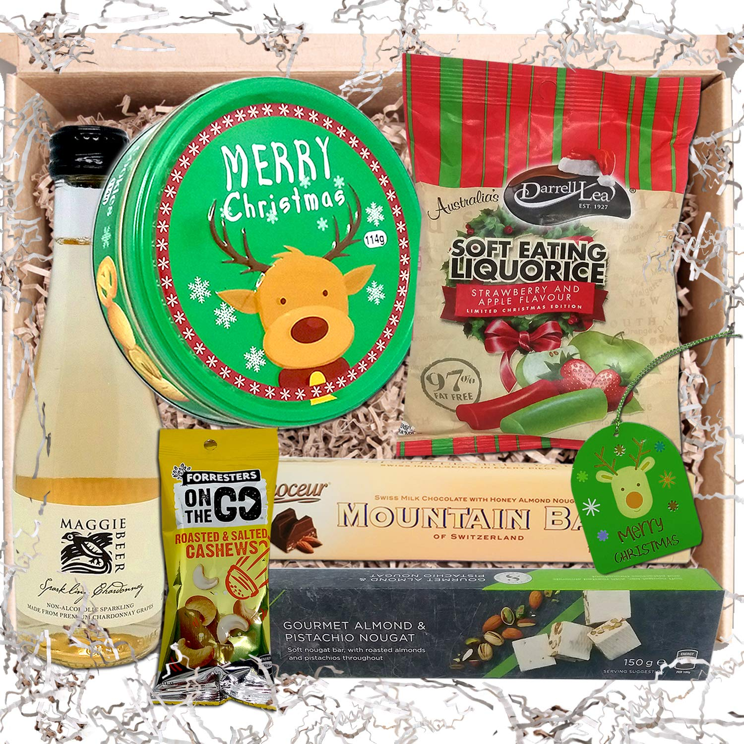 Food and Wine Xmas Hamper – Wine, Licorice, Nougat, Shortbread Biscuits,  Chocolate & Cashews