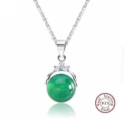 Green Agate Stone And Silver Pendant Necklace