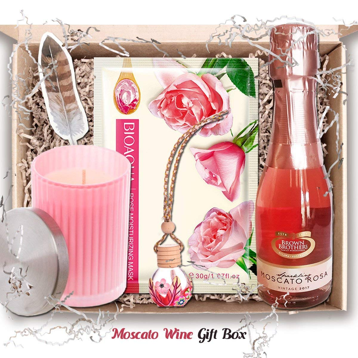 Wine Gift Box Set – Pamper Her with Moscata Rosa Wine, Beauty Sheet ...