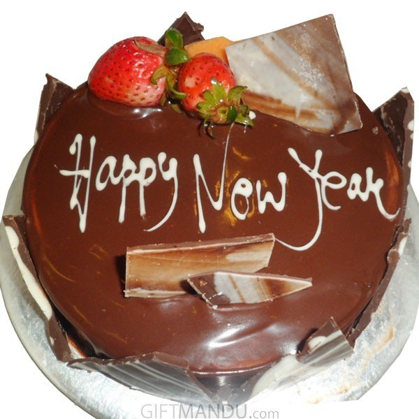 Chocolate New Year Cake from Star Hotel   Gifts to Nepal   Giftmandu Chocolate Truffle New Year Cake from Star Hotel