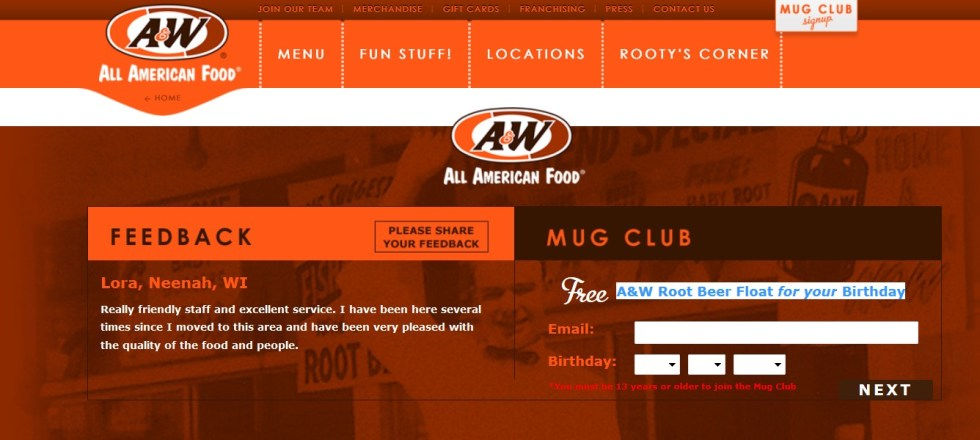 Free A&W Root Beer Float for your Birthday1
