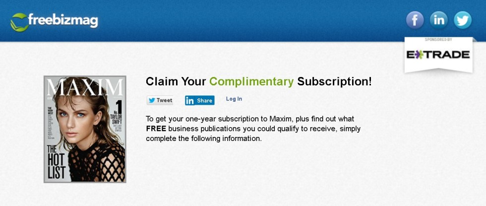 Complimentary Subscription of Maxim at Freebizmag1