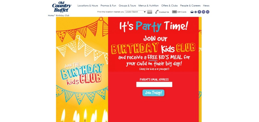 Free Birthday Kid's Meal at Old Country Buffet USA 1