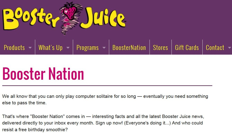 Free Birthday Smoothie at Booster Juice USA