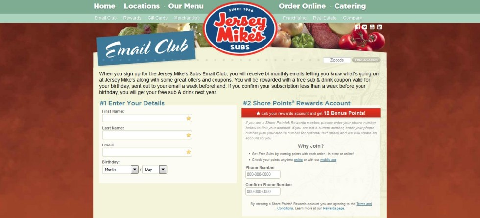 Free Sub & Drink on Birthday at Jersey Mike's Subs Email Club1