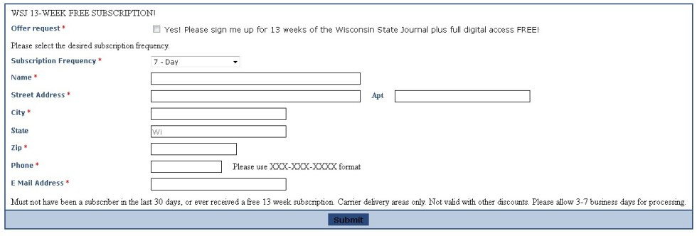 Free Wisconsin State Journal 13-WEEK FREE SUBSCRIPTION!1