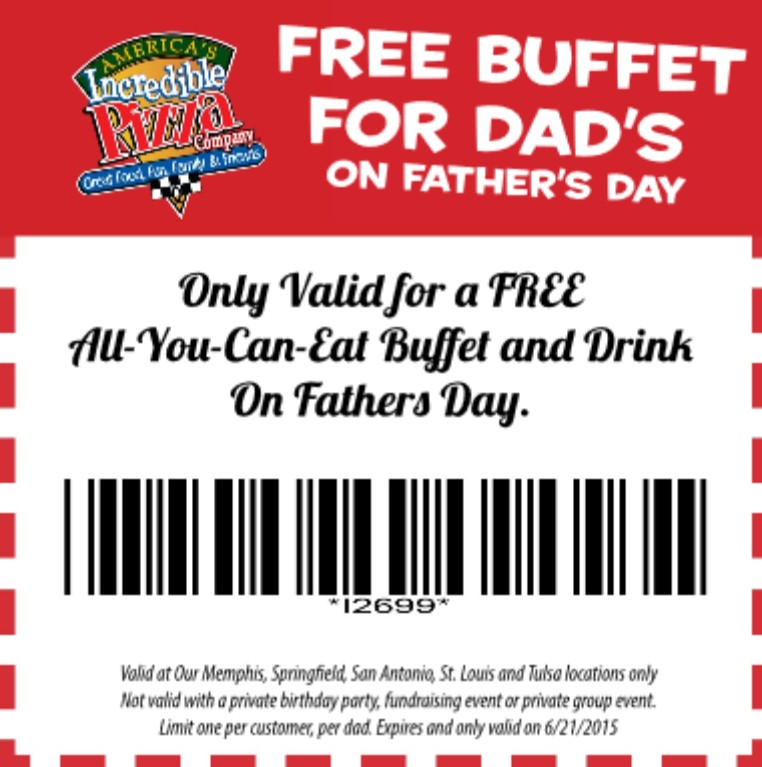 Free Buffet for Dad's on Father's Day at America's Incredible Pizza Company