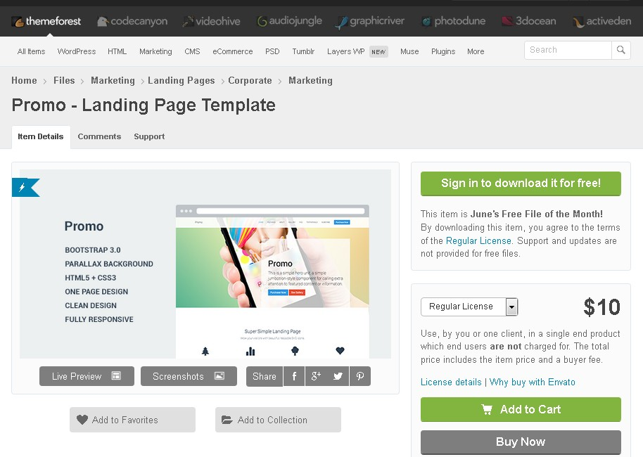 Free Promo - Landing Page Template at ThemeForest