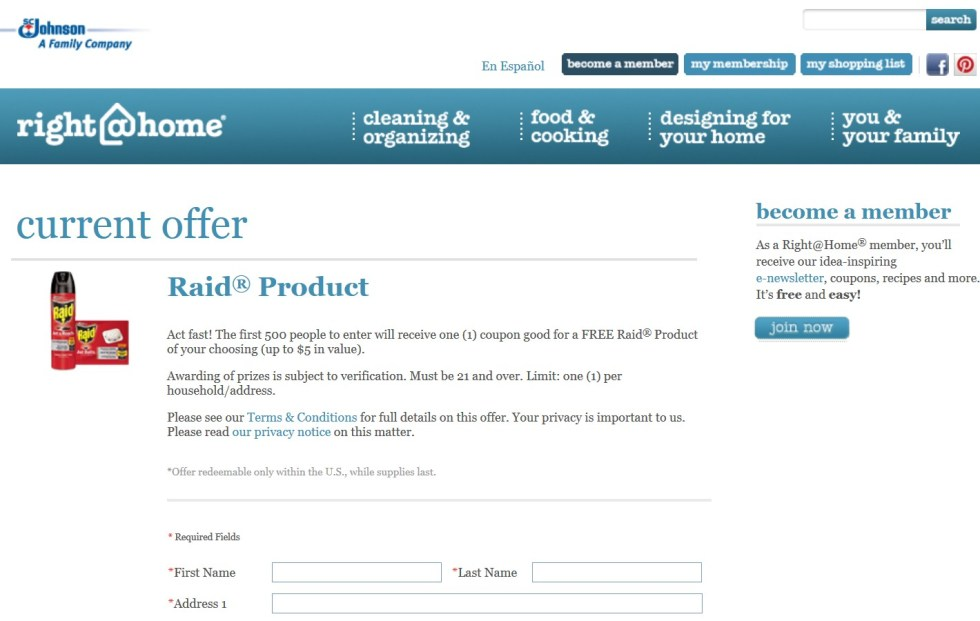 Free Raid® Product at Right At Home USA1