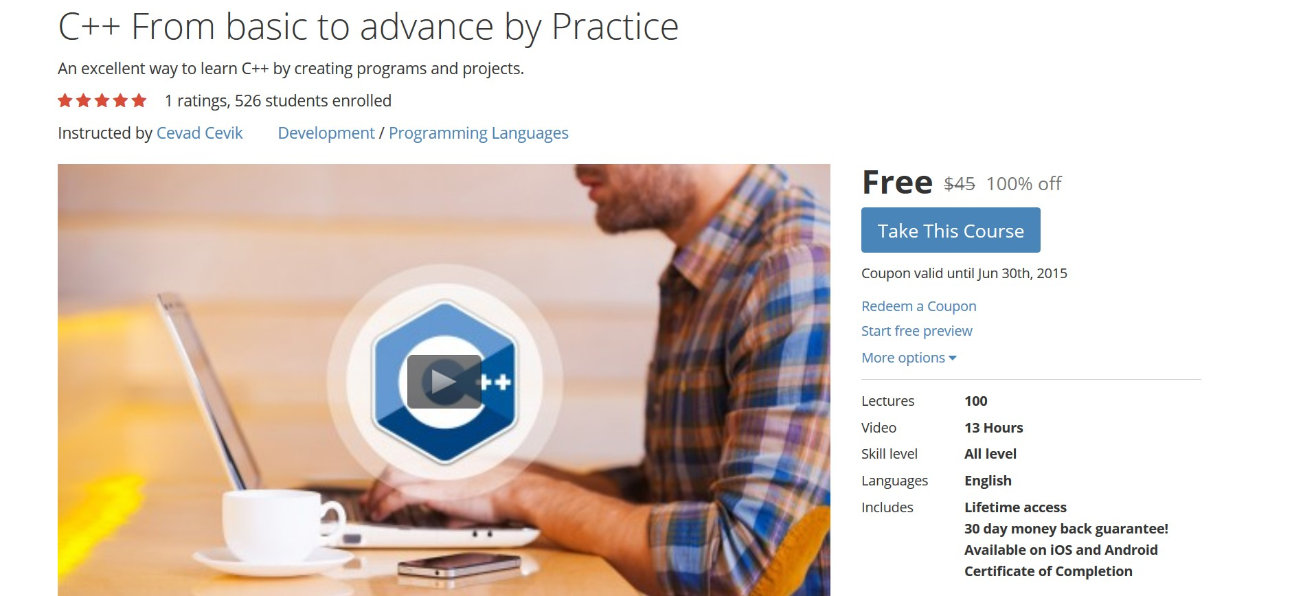 Free Udemy Course on C++ From basic to advance by Practice