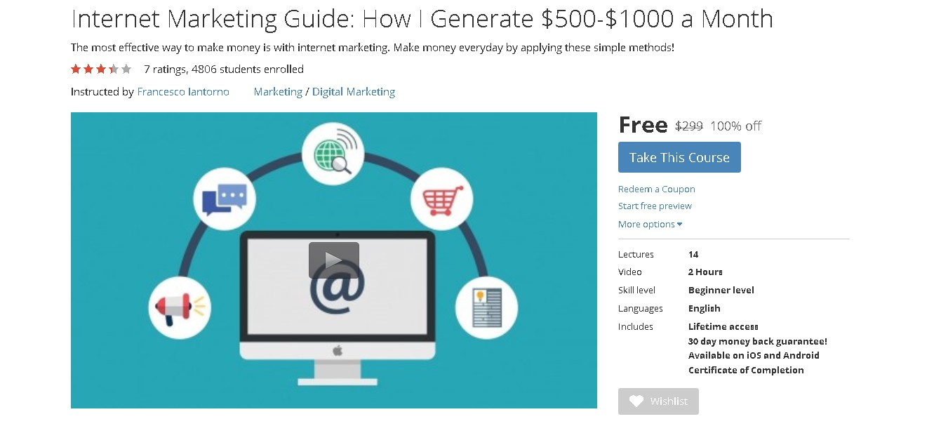 Free Udemy Course on Internet Marketing Guide: How I