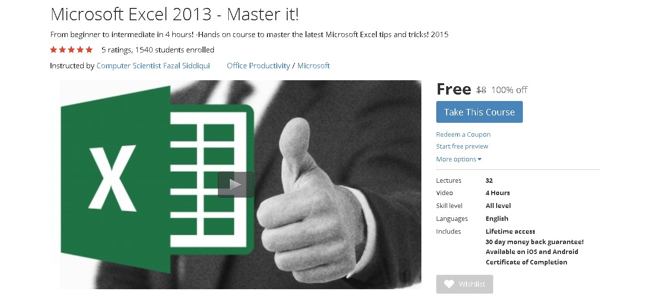 Free Udemy Course on Microsoft Excel 2013 - Master it