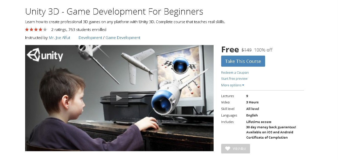Free Udemy Course on Unity 3D - Game Development For Beginners