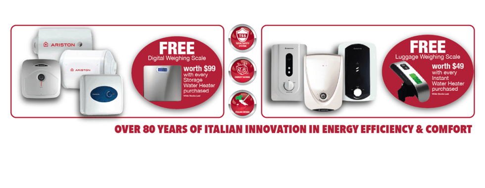 Stand-to-win a Ariston Fino water heater (worth $159)  at Ariston Thermo SG