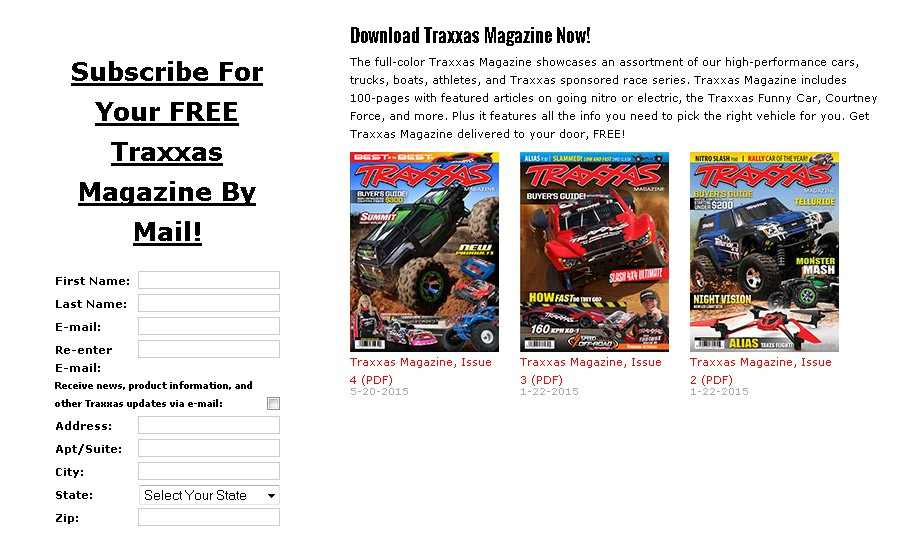 FREE Traxxas Magazine delivered to your door