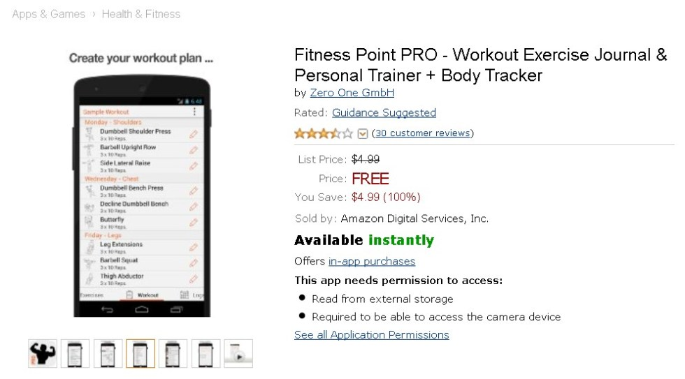 Free Android App at Amazon Fitness Point PRO - Workout Exercise Journal & Personal Trainer + Body Tracker