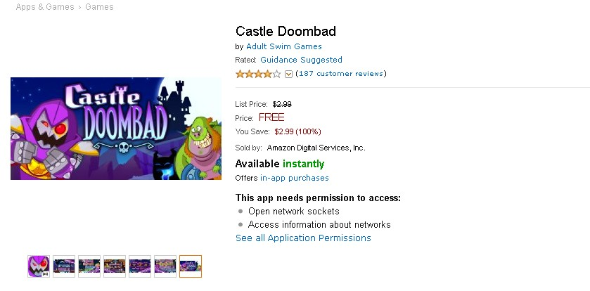 Free Android Game at Amazon Castle Doombad