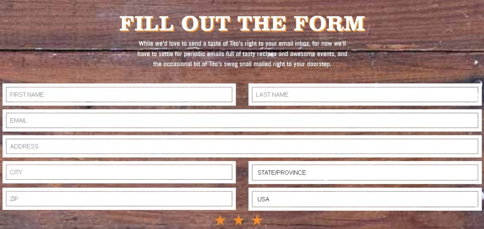 Free Tito's Handmade Vodka Form Sample
