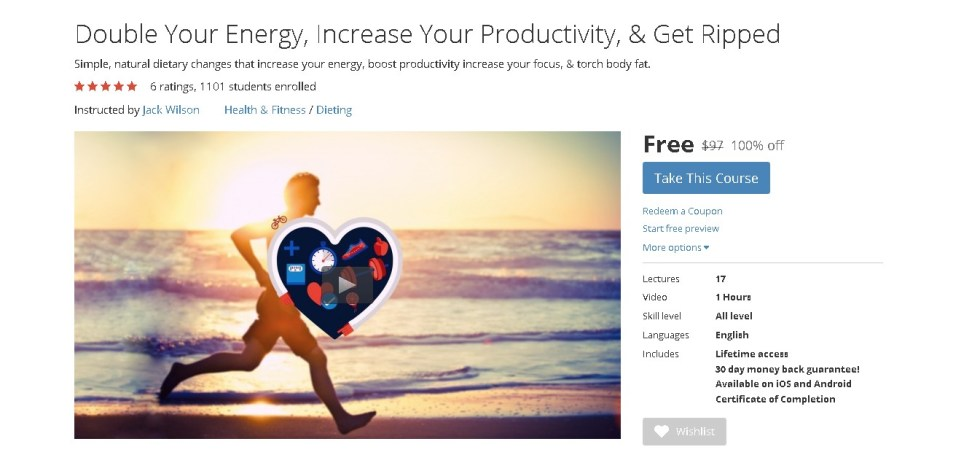 Free Udemy Course on Double Your Energy, Increase Your Productivity, & Get Ripped