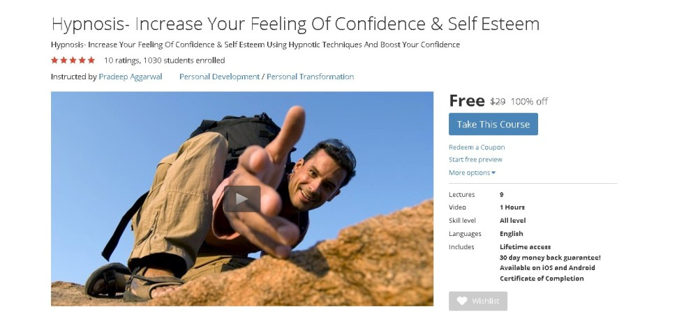 Free Udemy Course on Hypnosis- Increase Your Feeling Of Confidence & Self Esteem (2)