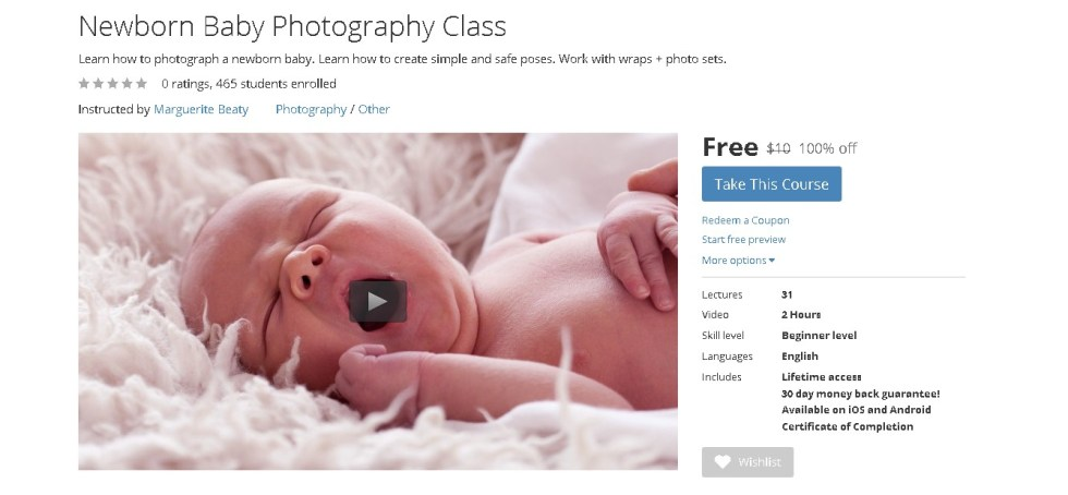 Free Udemy Course on Newborn Baby Photography Class