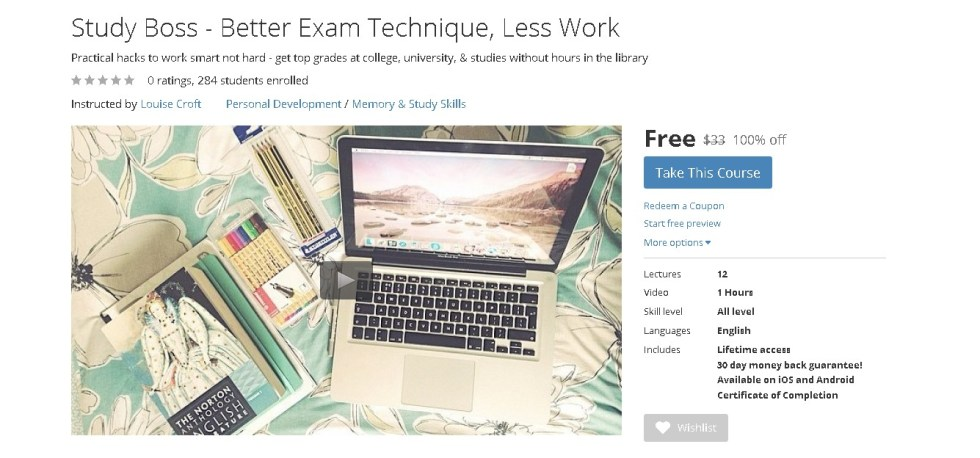 Free Udemy Course on Study Boss - Better Exam Technique, Less Work